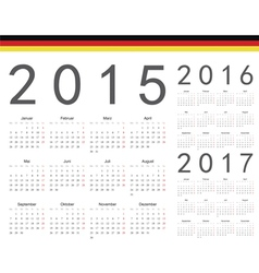 Set of german 2015 2016 2017 year calendars vector