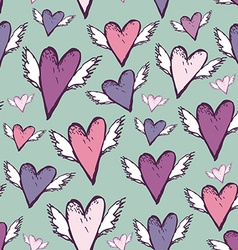 Wedding romantic seamless hearts with wings sketch vector image