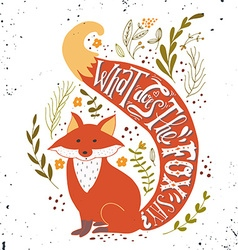 Hand drawn vintage label with a fox and hand vector