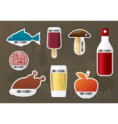 Set of food stickers vector