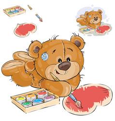 A brown teddy bear paints a vector