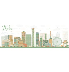 Abstract kobe skyline with color buildings vector