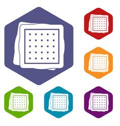 Biscuit icons set hexagon vector