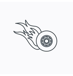 Burning wheel icon speed or race sign vector