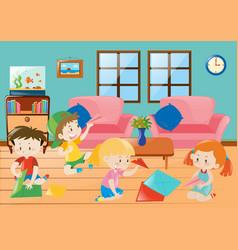 Children folding plane paper in room vector