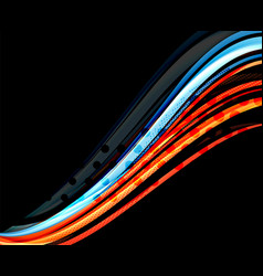 colorful wave lines with light and shadow effects vector image vector image