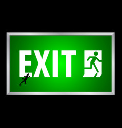 Exit white text on green background lightbox vector
