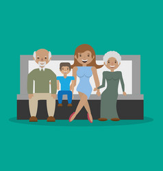 Family - grandparents with mom son sitting sofa vector