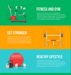 Fitness training and gym club concept set vector