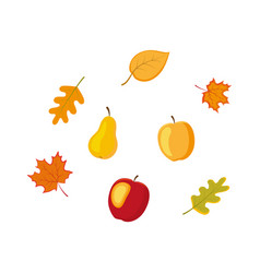 Fruit vegetables autumn falling leaves set vector