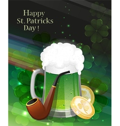 Glass of green beer and leprechaun pipe vector image vector image