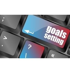 Goals setting button on keyboard with soft focus vector image vector image