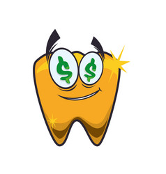 Golden tooth jewerly vector