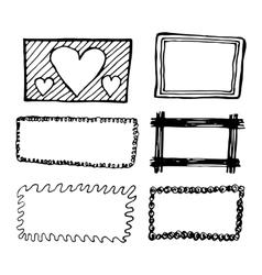 Hand drawn rectangle frames set vector image vector image