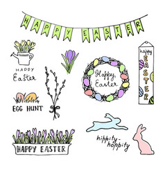 happy easter colored sketch with eggs rabbits vector image vector image