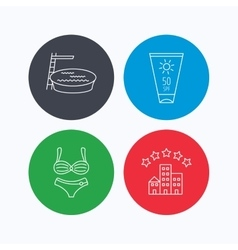 Hotel swimming pool and sun cream icons vector image