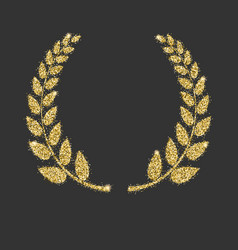 laurel wreath icon with glitter effect isolated vector image vector image