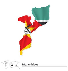 Map of Mozambique with flag vector image