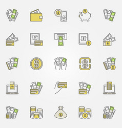 money and finance colorful icons vector image vector image