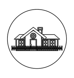 Monochrome contour circle of house with chimney vector