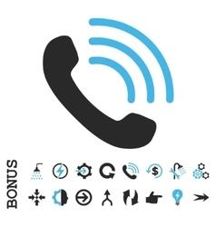 Phone Call Flat Icon With Bonus vector image