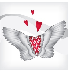 Red heart with wings vector image