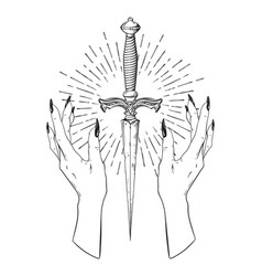 ritual dagger in female hands with rays of light vector image