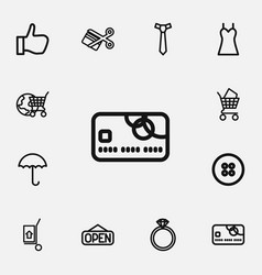 set of 12 editable shopping outline icons vector image