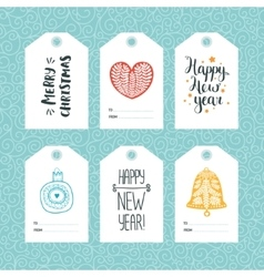 Set of Christmas and New year tags vector image vector image