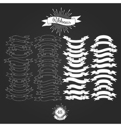 Set of ribbons for vintage logos vector image