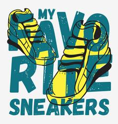 Sneakers themed tee print typographic design vector