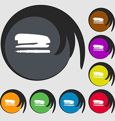 Stapler and pen icon symbols on eight colored vector