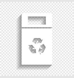 Trashcan sign white icon vector