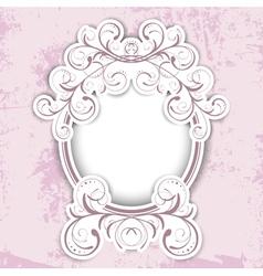 Vintage Floral Round Frame vector image vector image