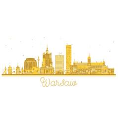 Warsaw poland city skyline golden silhouette vector