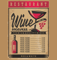 Wine list menu template on old vintage paper backg vector