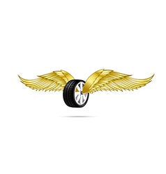 Car wheel and tire with flying pair of wings for vector