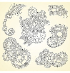 black flowers doodle design element vector image