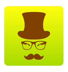 Hipster accessories design  brown icon at vector