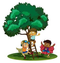 Boys playing hero in the park vector