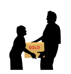 Happy buyers carrying something packed in a box vector