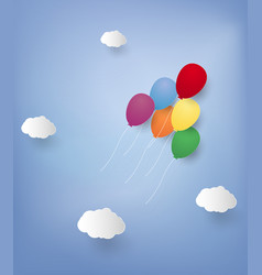 Balloons flying in the sky paper art style vector