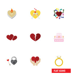 Flat icon amour set of divorce celebration key vector