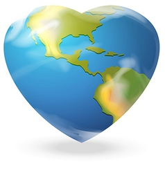 A heart-shaped globe vector