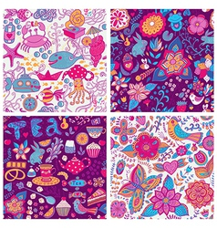 Set of four colorful floral patterncopy each vector
