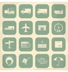 Shipping and logistics retro icons vector