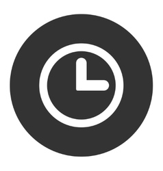 Clock flat white and gray colors round button vector