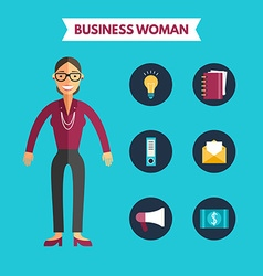 Flat design of business woman with icon set vector