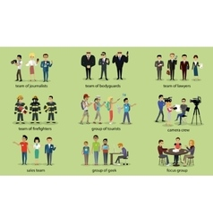 Different groups of people firefighter lawyers vector