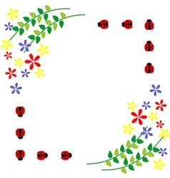 Floral card colorful flowers leaves and ladybugs vector